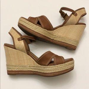 Clark's• Indigo Brown Leather Wedge Sandal